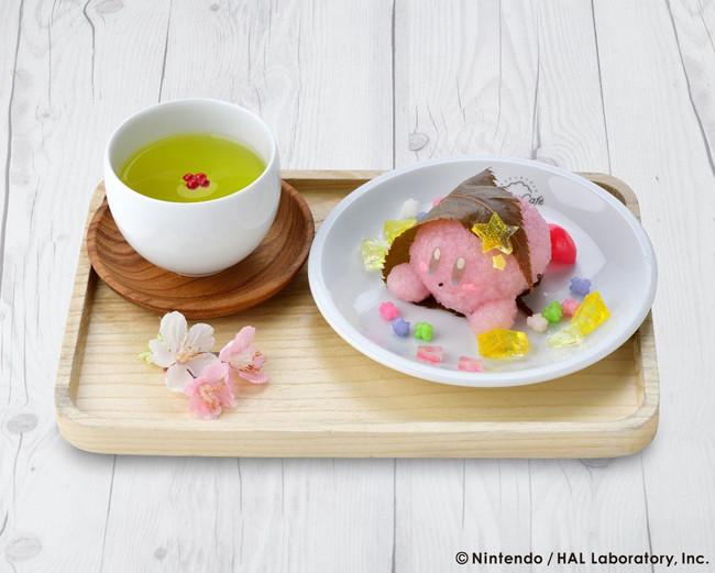 Kirby wagashi sweet and green tea